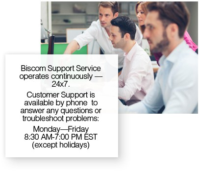 Tech support team providing U.S.-based technical support for enterprise fax and email-to-fax users