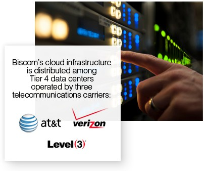 Finger pressing button on panel in Tier 4 data center with logos from AT&T, Verizon and Level 3, the three carriers from within which Biscom operates its cloud fax services